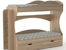 Двухъярусная кровать с лестнице, с бортиком, с ящиками Бриз