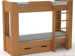 Двухъярусная кровать с лестницей, бортиком и ящиками Твикс2