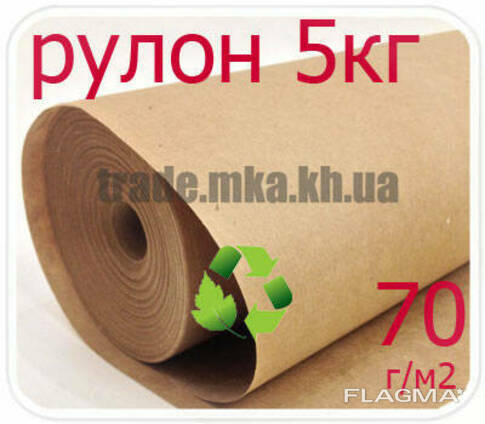 Эко крафт бумага в рулоне 70г/м2 (5 кг)