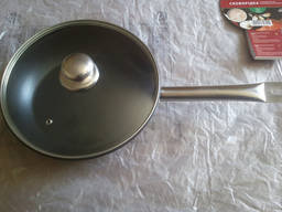 Экологическая сковорода 26 см. индукция со стекл. крышкой