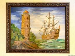 Эксклюзивная картина из ценных пород древесины Галеон.