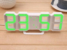 Электронные настольные LED часы с будильником и термометром LY-1089 White (зеленая. ..