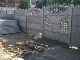Евро забор, бетонный забор, столбы, столбы рабица, сетка,