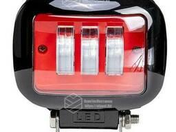 Фара LED прямоугольная 30W (3 диода) red