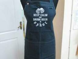 Фартук бармена, фартук официанта Джинсовый, с логотипом