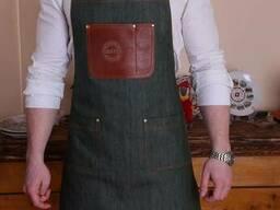 Фартук джинсовый с кожаными вставками для бариста