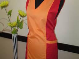 Фартук-накидка оранжево-красная для горничных