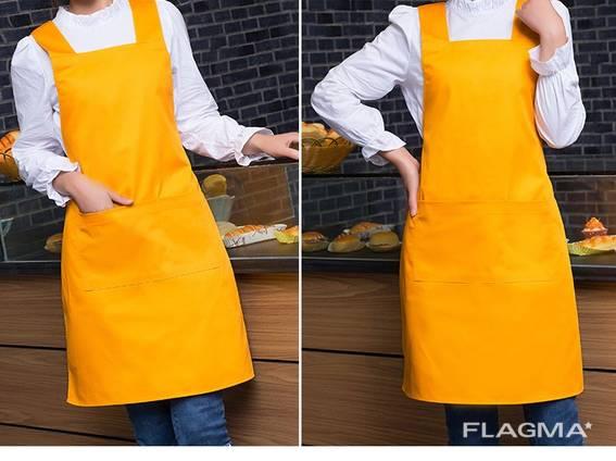 Фартук официанта, продавца с широкими лямками, ярко желтый