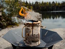 Финская свеча N2 горит ( камин, чаша для костра )