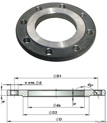 Фланцы стальные и нержавеющие плоские приварные Ду10-Ду1600