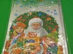 Фольгированный пакет Н. Г (20*35) №31 Дед Мороз и дети (100 шт)