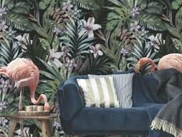 Детские фотообои с рельефом 3Д Фламинго Джунгли Jungle Flamingo 400 см х 290 см