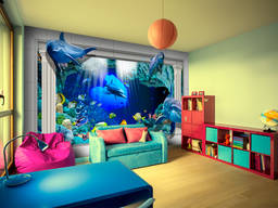 Фотообои 3Д Дельфины - морской мир
