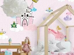 Флизелиновые обои в детскую девочкам с 3D Принцессы. ..