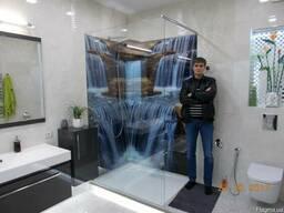 """Фотопанно в ванную из стекла """"Водопад"""""""