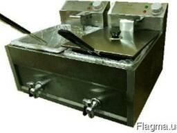Фритюрница двойная 8 8 л с краном для слива масла