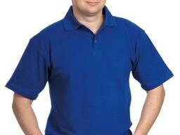 Футболка Поло трикотажная синего цвета.