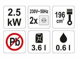 Генератор ел. струму бензиновий YATO: W=2.5 кВт, U=230 В, витрата- 0.6л/г, бак- 3.6л з. ..