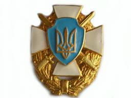 Герб Украины на георгиевском кресте и венке с саблями (крест-белый)