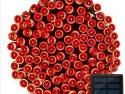Гирлянда 200 LED 22 м красная на солнечной батарее
