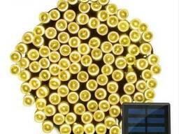 Гирлянда 200 LED 22 м желтая на солнечной батарее