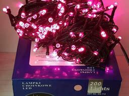 Гирлянда на 200 LED розовая