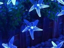 Гирлянда на солнечной батарее Морские звёзды синие