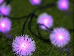 Гирлянда на солнечной батарее Праздничные огни фиолетовый