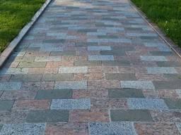Гранитная брусчатка полнопиленная, тротуарная плитка