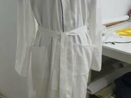 Халат для СПА процедур, сатин белый, кимоно