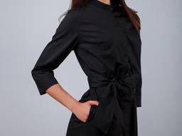 Халат черный для косметолога, халат для бьюти мастера