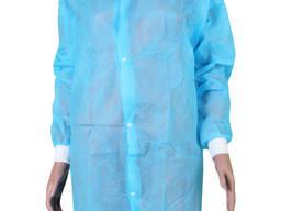 Халат одноразовий медичний на кнопках з манжетами, Блакитні