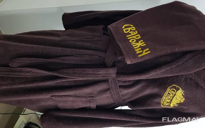 Халаты и полотенца махровые коричневые