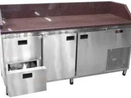 Холодильный стол 2 двери и 2 выдвижных ящичка с гранитной столешницей и бортами