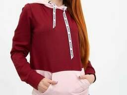 Худи женское 102R051 цвет Бордовый