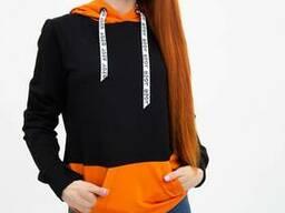 Худи женское 102R051 цвет Черно-оранжевый