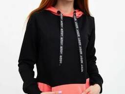Худи женское 102R051 цвет Черно-розовый