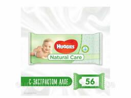 Huggies Детские влажные салфетки Natural Care с алое, 56шт Великобритания