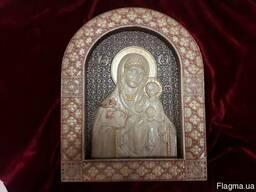 Икона Божией Матери «Неувядаемый Цвет» резьба по дереву