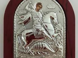 Икона Георгий Победоносец - посеребрение