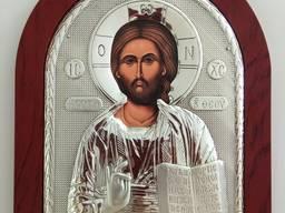 Икона Иисуса Христа - посеребрение