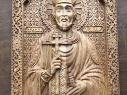 Икона св. Владимира из дерева, резная икона, дубовая икона