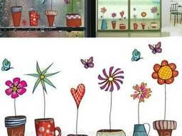 """Интерьерная наклейка на стену, окна """"Цветы"""" (012)"""