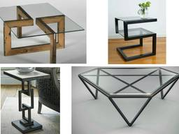 Столы с элементами стекла, акрила, металла. Подсветка, зарядки в столах. Под заказ