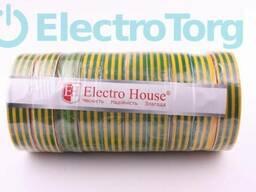 Изолента ПВХ 50 метров желто-зеленая ElectroHouse
