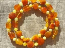Изысканные янтарные ожерелья, бусы из полированного янтаря