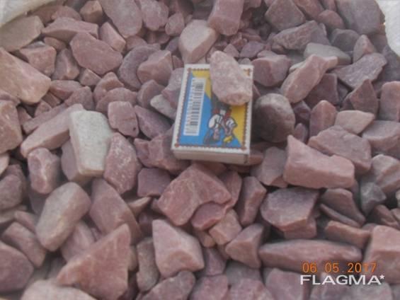 Камень Кварцит. Галька окатанная красная 20-40 мм