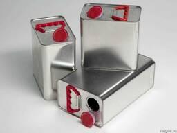 Канистра банка емкость металлическая прямоугольная 5 л.