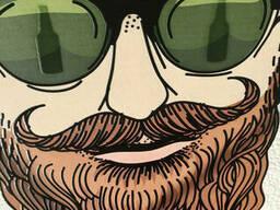 Картина на холсте печать по номерам №5 фото панно дизайнерское Хипстер Бородач Beerman. ..