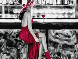 """Картина по номерам. Brushme """"Девушка с красным вином"""". .."""